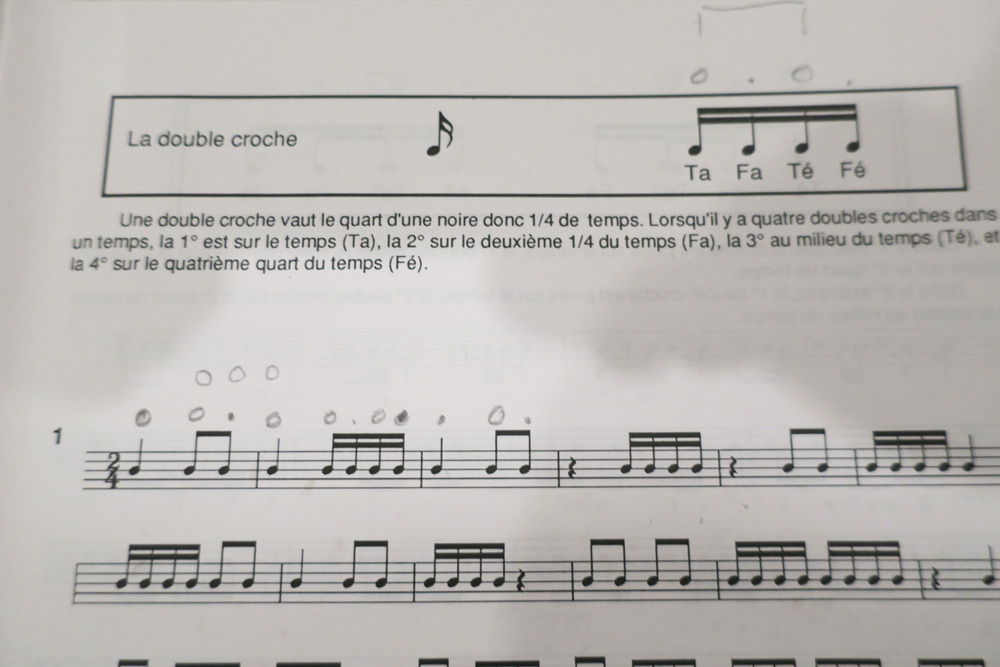 la double croche en solfege rythmique
