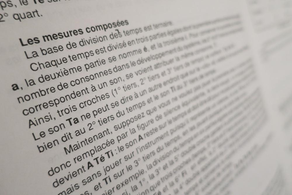 les mesures composées d'un cours de solfège rythmique